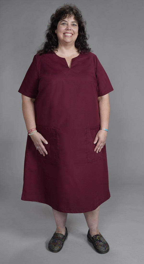 New! Large Size Scrubs - Women\'s Print and Solid Keyhole Neck Scrub Dress  Tall and Plus Med-12x